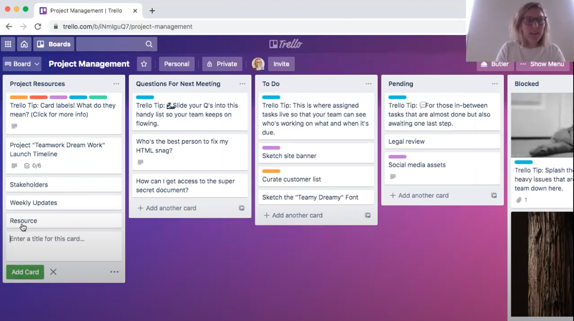 Trello's Project Management board